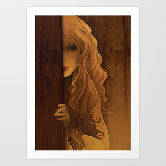 Girl Behind The Door Art Print
