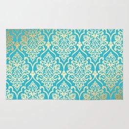 Teal Gold Mermaid Damask Pattern Rug