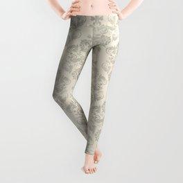 Beige Watercolor Damask Pattern Leggings
