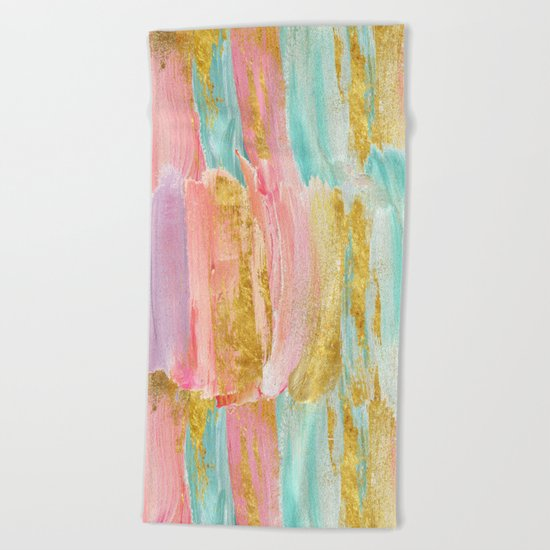 Gilded pastels Beach Towel