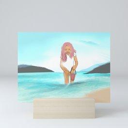 A GIRL AT THE BEACH Mini Art Print