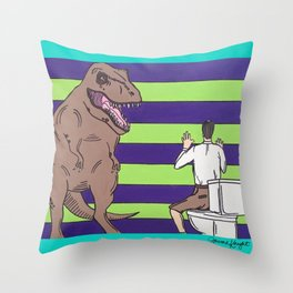 "Jurassic Park ""Died on the Shitter"" Throw Pillow"