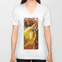 mucha V-neck T-shirts featuring My Mucha by Mara Valladares