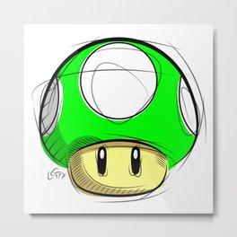 1 UP Mushroom Digital Drawing, Games Art, Super Mario, Nintendo Art Metal Print