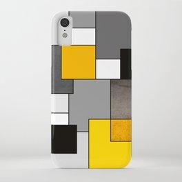 Black Yellow and Gray Geometric Art iPhone Case