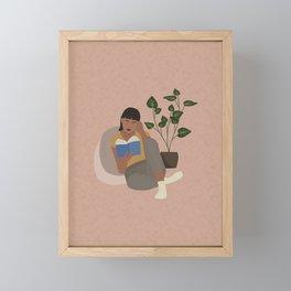 The Bookworm Lady Framed Mini Art Print