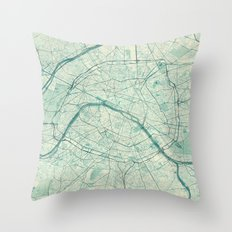 Paris Map Blue Vintage Throw Pillow