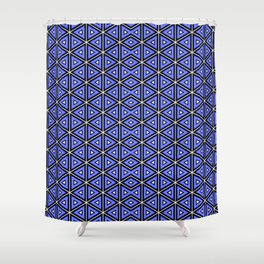 TECHNO BLUE TRIANGLES  Shower Curtain