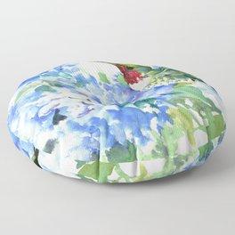 Hydrangea Flowers and Ruby Throat Hummingbird Floor Pillow