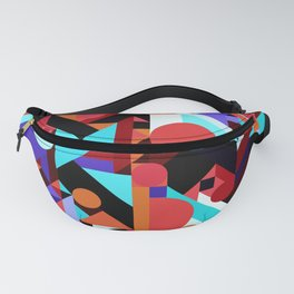 CRAZY CHAOS ABSTRACT GEOMETRIC SHAPES PATTERN (ORANGE RED WHITE BLACK BLUES) Fanny Pack