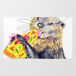 Otter loves pizza Rug