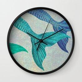 Glistening Mermaid Tails Wall Clock