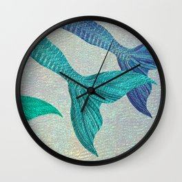 Glistening Mermaid Tails Wall Clock