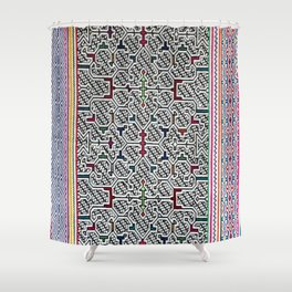 Song to Bring Blessings to a Marriage - Traditional Shipibo Art - Indigenous Ayahuasca Patterns Shower Curtain