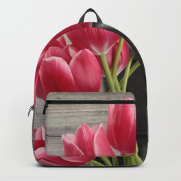 Pink Tulips & Shadow Wooden Background Backpack