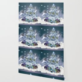Snowy Blue Christmas Scene Wallpaper