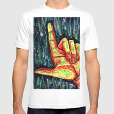 Pointing hand White MEDIUM Mens Fitted Tee