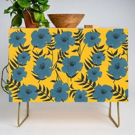 Blue Flowers with Banana Leaves with Yellow Credenza