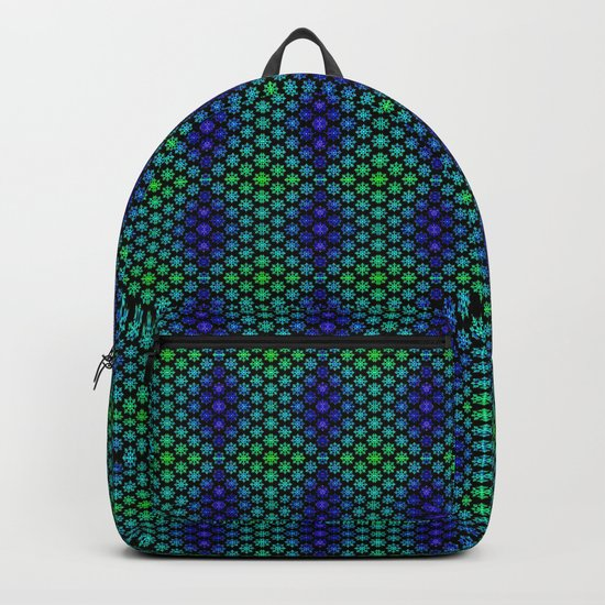 Snowflakes in Black, Green, and Blue Backpack