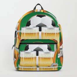 Beer glasses and Soccer Ball in green circle Backpack