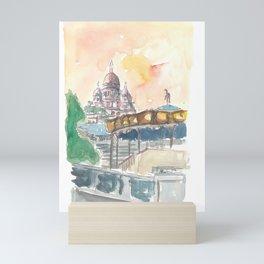 Paris France Montmartre Sunset At Sacre Coeur Mini Art Print