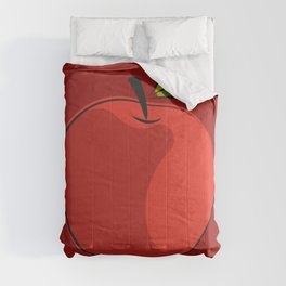 red apple with shadow Comforters