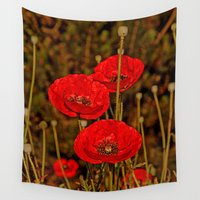 poppies Wall Tapestries featuring Poppies by Pirmin Nohr