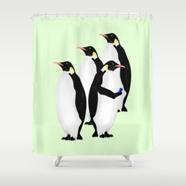 Penguin On A Mobile Device Shower Curtain