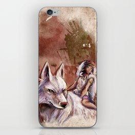 Miyazaki's Mononoke Hime - San and the Wolf TraDigital Painting iPhone Skin