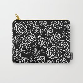 Floral Outlines - White/Black Carry-All Pouch