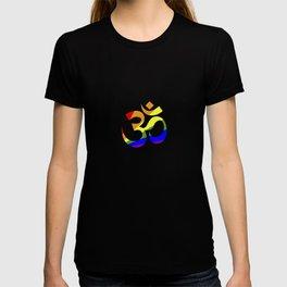 Gay Pride Flag Om Spiritual Symbol Yoga Meditation Cool Humor Design Pun Gift T-shirt