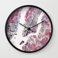 new york map Wall Clocks featuring new york map by MapMapMaps.Watercolors