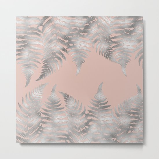 Silver fern leaves on rosegold background - abstract pattern Metal Print