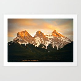 Three Sisters - Golden Peaks Art Print