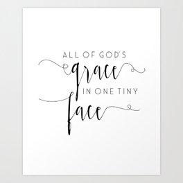 Gods Grace SVG, Baby Girl SVG, New Baby svg, Gift from God svg, Tiny Face svg Art Print