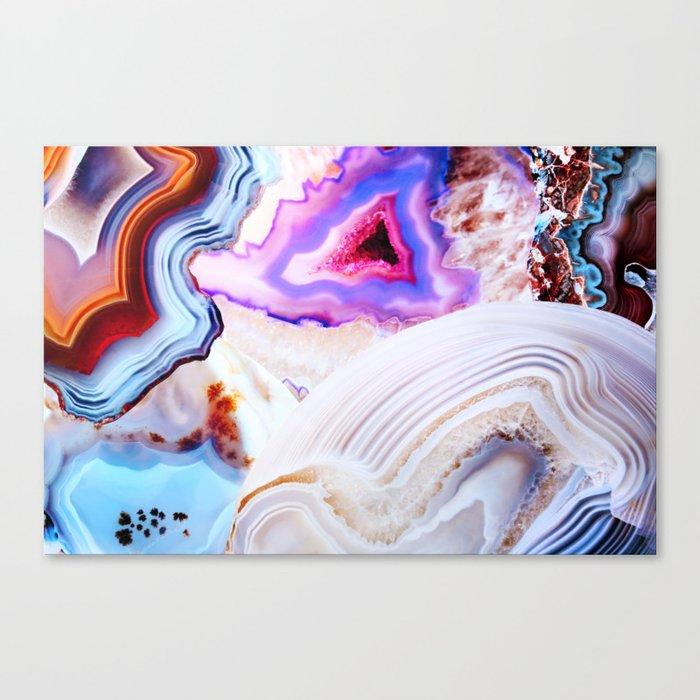Agate, a vivid Metamorphic rock on Fire Canvas Print
