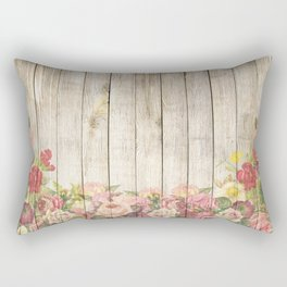 Vintage Rustic Romantic Roses Wooden Plank Rectangular Pillow