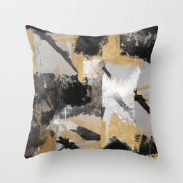 Gold leaf black, geometrical abstract Throw Pillow