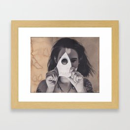 Realism Drawing of Beautiful Woman with Ouija Planchette Piece Framed Art Print