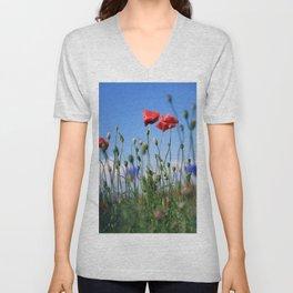 poppy flower no10 Unisex V-Neck