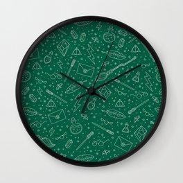 Yer a Wizard - Green + Silver Wall Clock
