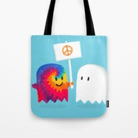 hippie Tote Bags featuring Hippie ghost by Picomodi