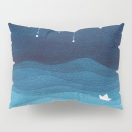 Falling stars, blue, sailboat, ocean Pillow Sham