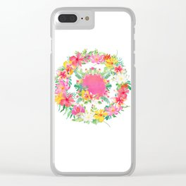 Aloha Tropical Flowers Circle Clear iPhone Case