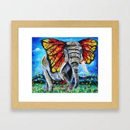 elephant painting, butterfly, monarch, fall leaves, elephant artwork, wall art, autumn Framed Art Print