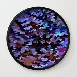 Foliage Abstract In Blue and Lilac Tones Wall Clock
