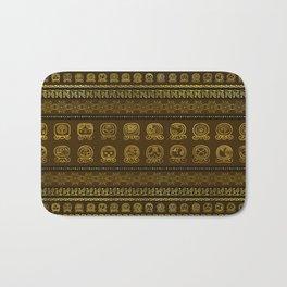 Maya Calendar Glyphs pattern Gold on Brown Bath Mat