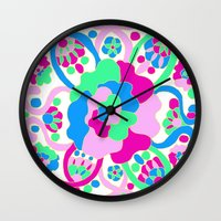"beth hoeckel Wall Clocks featuring ""Beth"" by Ma'at Silk"