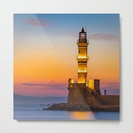 Lighthouse at the old harbour in Chania, Greece Metal Print