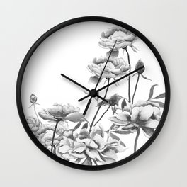 black and white peonies Wall Clock